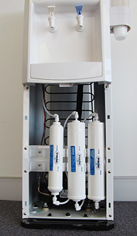 3 stage filtration system neatly fits in the base of the unit