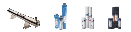 Various water filtration products